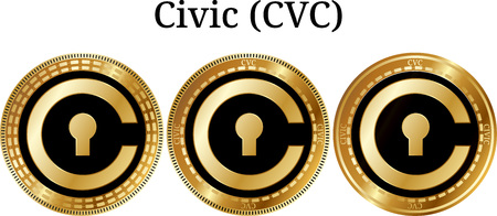 Set of physical golden coin Civic (CVC), digital cryptocurrency. Civic (CVC) icon set. Vector illustration isolated on white background.