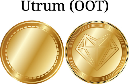 Set of physical golden coin True Chain (TRUE), digital cryptocurrency. True Chain (TRUE) icon set. Vector illustration isolated on white background.