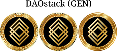Set of physical golden coin DAOstack (GEN), digital cryptocurrency. DAOstack (GEN) icon set. Vector illustration isolated on white background.