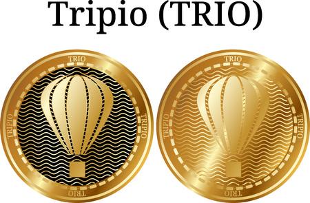 Set of physical golden coin Tripio (TRIO), digital cryptocurrency. Tripio (TRIO) icon set. Vector illustration isolated on white background.