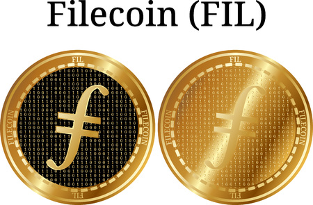 Set of physical golden coin Filecoin (FIL), digital cryptocurrency. Filecoin (FIL) icon set. Vector illustration isolated on white background.