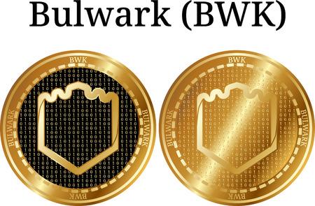 Set of physical golden coin Bulwark (BWK), digital cryptocurrency. Bulwark (BWK) icon set. Vector illustration isolated on white background. Illustration