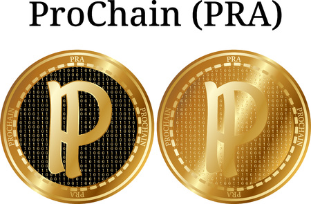 Set of physical golden coin ProChain (PRA), digital cryptocurrency. ProChain (PRA) icon set. Vector illustration isolated on white background.