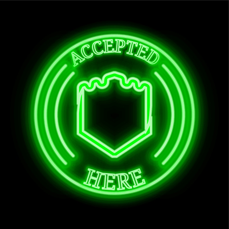 Bulwark (BWK) green  neon cryptocurrency symbol in round frame with text Accepted here