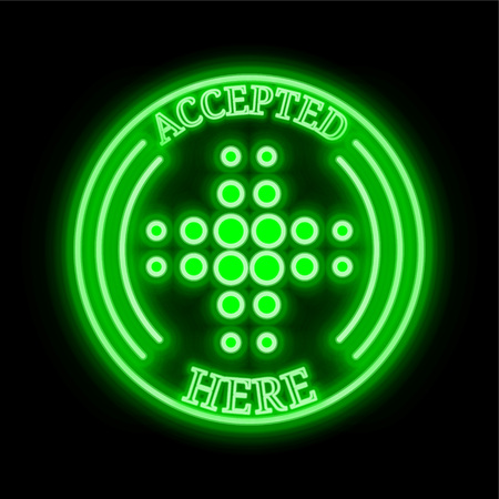 MediShares (MDS) green  neon cryptocurrency symbol in round frame with text