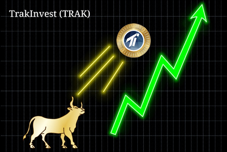 Gold bull, throwing up TrakInvest (TRAK) cryptocurrency golden coin up the trend. Bullish TrakInvest (TRAK) chart