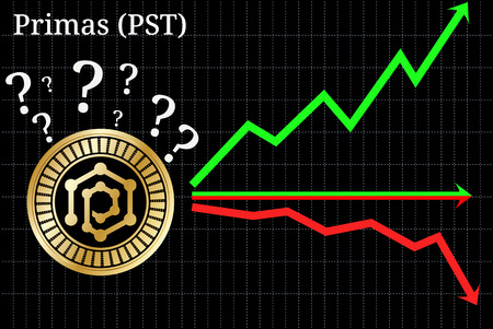 Possible graphs of forecast Primas (PST) - up, down or horizontally. Primas (PST) chart. Illustration