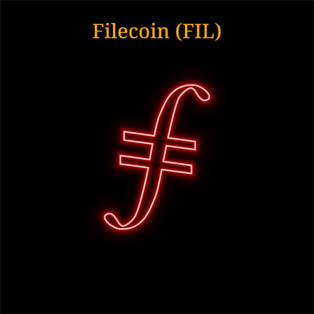 Red neon Filecoin (FIL) cryptocurrency symbol. Vector illustration isolated on black background Ilustração