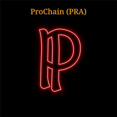 Red neon ProChain (PRA) cryptocurrency symbol. Vector illustration eps10 isolated on black background Ilustração