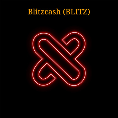 Red neon Blitzcash (BLITZ) cryptocurrency symbol. Vector illustration eps10 isolated on black background