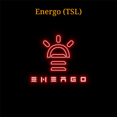 Red neon Energo (TSL) cryptocurrency symbol. Vector illustration isolated on black background Illustration