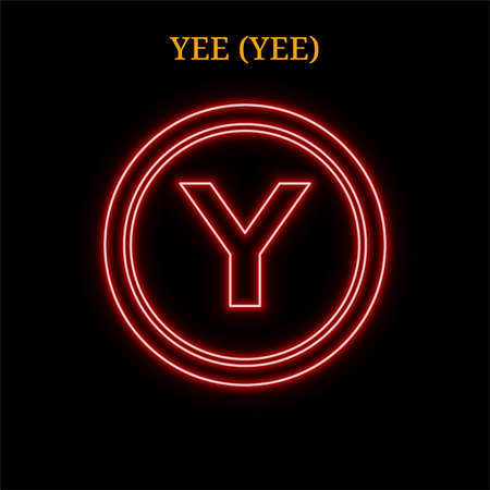 Red neon YEE (YEE) cryptocurrency symbol. Vector illustration eps10 isolated on black background
