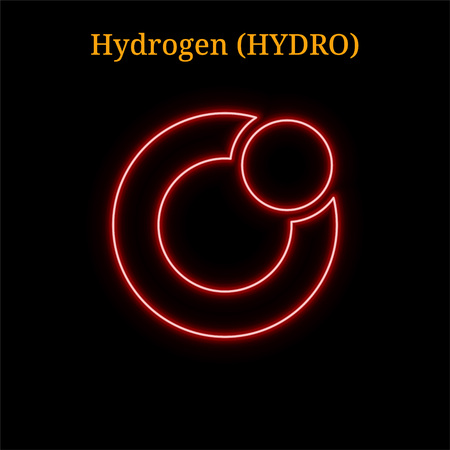 Red neon Hydrogen (HYDRO) cryptocurrency symbol. Vector illustration isolated on black background Illustration