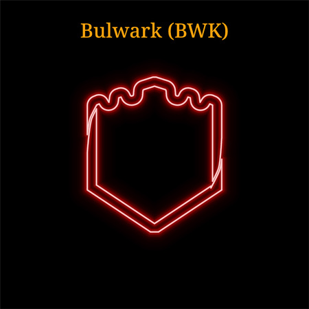 Red neon Bulwark (BWK) cryptocurrency symbol. Vector illustration eps10 isolated on black background Illustration