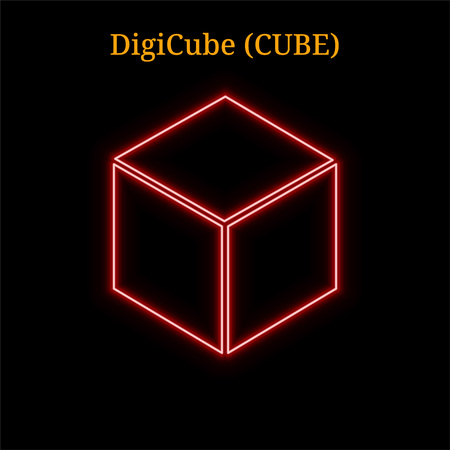 Red neon DigiCube (CUBE) cryptocurrency symbol. Vector illustration eps10 isolated on black background