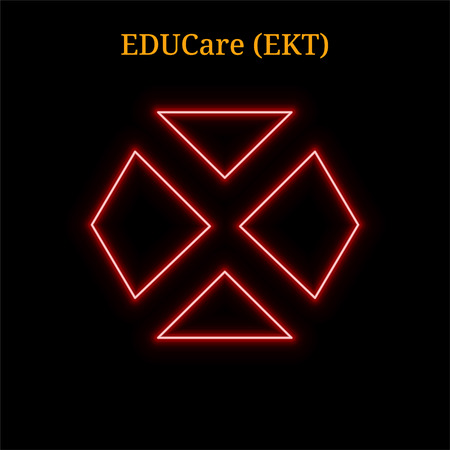 Red neon EDUCare (EKT) cryptocurrency symbol. Vector illustration isolated on black background Illustration