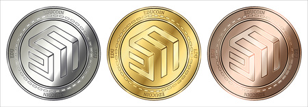 Gold, silver and bronze EduCoin (EDU) cryptocurrency coin. EduCoin (EDU) coin set.