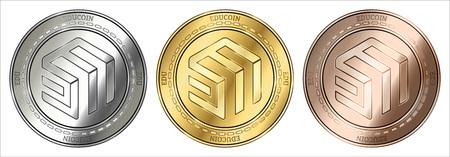 Gold, silver and bronze EduCoin (EDU) cryptocurrency coin. EduCoin (EDU) coin set.