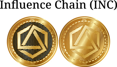 Set of physical golden coin Influence Chain (INC), digital cryptocurrency. Influence Chain (INC) icon set. Vector illustration isolated on white background.
