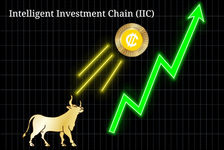 Gold bull, throwing up Intelligent Investment Chain (IIC) cryptocurrency golden coin up the trend. Bullish Intelligent Investment Chain (IIC) chart Иллюстрация