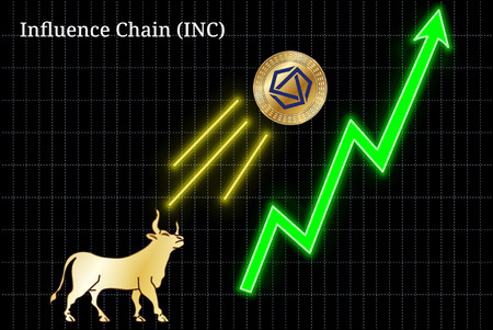 Gold bull, throwing up Influence Chain (INC) cryptocurrency golden coin up the trend. Bullish Influence Chain (INC) chart