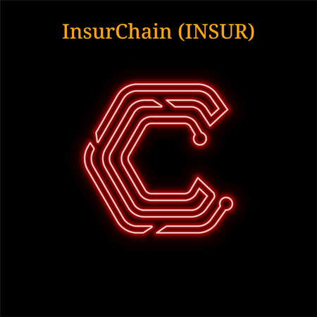 Red neon InsurChain (INSUR) cryptocurrency symbol. Vector illustration eps10 isolated on black background