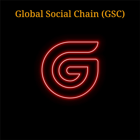 Red neon Global Social Chain (GSC) cryptocurrency symbol. Vector illustration  isolated on black background Illustration