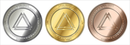 Gold, silver and bronze Libra Credit (LBA) cryptocurrency coin. Libra Credit (LBA) coin set.