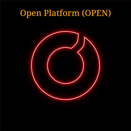 Red neon Open Platform (OPEN) cryptocurrency symbol. Vector illustration eps10 isolated on black background