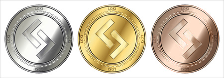 Gold, silver and bronze Loki (LOKI) cryptocurrency coin. Loki (LOKI) coin set. Ilustracja