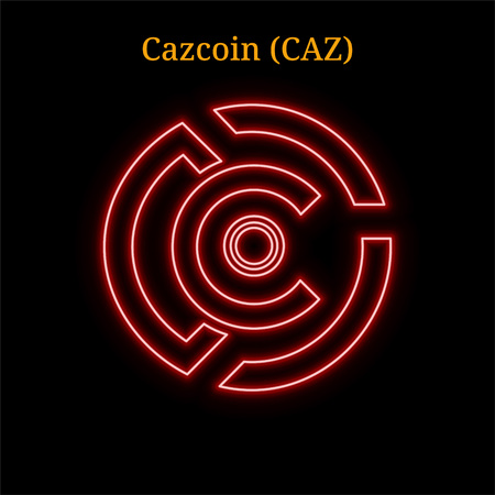 Red neon Cazcoin (CAZ) cryptocurrency symbol. Vector illustration eps10 isolated on black background