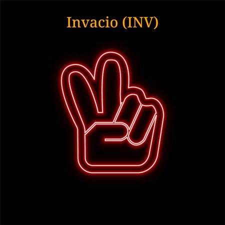 Red neon Invacio (INV) cryptocurrency symbol. Vector illustration eps10 isolated on black background