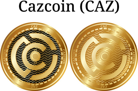 Set of physical golden coin Cazcoin (CAZ), digital cryptocurrency. Cazcoin (CAZ) icon set. Vector illustration isolated on white background.
