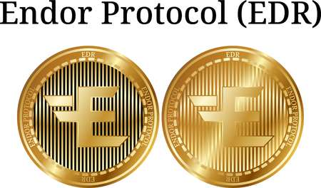 Set of physical golden coin Endor Protocol (EDR), digital cryptocurrency.  icon set. Vector illustration isolated on white background.