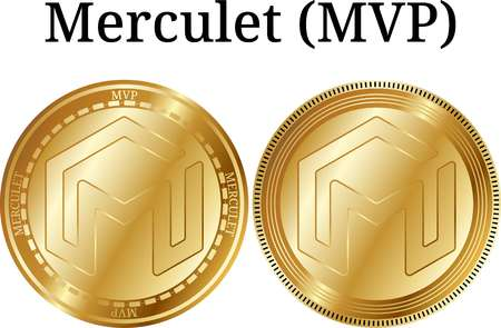 Set of physical golden coin Merculet (MVP), digital cryptocurrency.  icon set. Vector illustration isolated on white background.