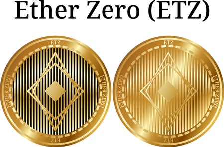 Set of physical golden coin Ether Zero (ETZ), digital cryptocurrency.  icon set. Vector illustration isolated on white background.
