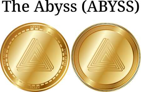 Set of physical golden coin The Abyss (ABYSS), digital cryptocurrency.  icon set. Vector illustration isolated on white background.