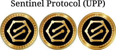 Set of physical golden coin Sentinel Protocol (UPP), digital cryptocurrency.  icon set. Vector illustration isolated on white background. Illustration