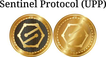 Set of physical golden coin Sentinel Protocol (UPP), digital cryptocurrency. icon set. Vector illustration isolated on white background.