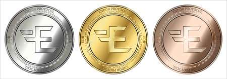 Gold, silver and bronze Endor Protocol (EDR) cryptocurrency coin. Endor Protocol (EDR) coin set. Banque d'images - 103739927