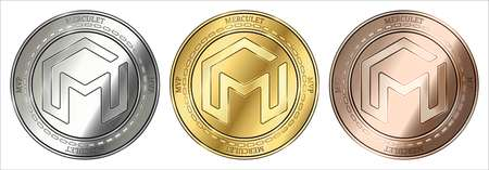 Gold, silver and bronze Merculet (MVP) cryptocurrency coin. Merculet (MVP) coin set.