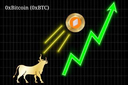 Gold bull, throwing up 0xBitcoin (0xBTC) cryptocurrency golden coin up the trend. Bullish 0xBitcoin (0xBTC) chart Illustration