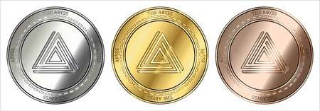 Gold, silver and bronze The Abyss (ABYSS) cryptocurrency coin. The Abyss (ABYSS) coin set. Archivio Fotografico - 103778783
