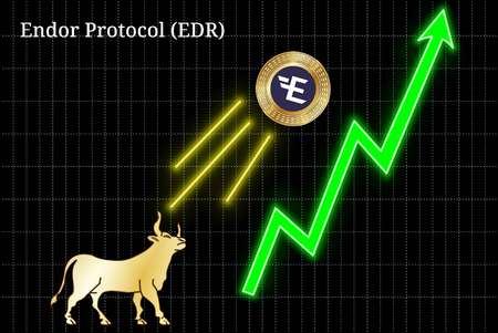 Gold bull, throwing up Endor Protocol (EDR) cryptocurrency golden coin up the trend. Bullish Endor Protocol (EDR) chart