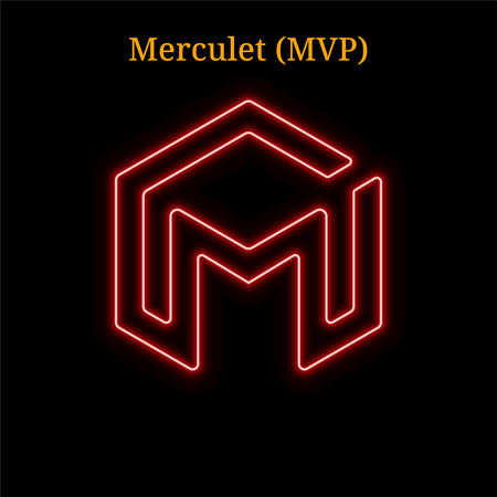 Merculet (MVP) cryptocurrency symbol. Vector illustration eps10 isolated on black background