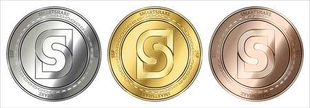 Gold, silver and bronze Smartshare (SSP) cryptocurrency coin. Smartshare (SSP) coin set.