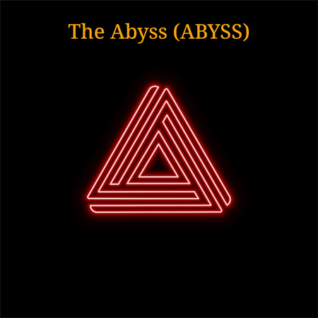 The Abyss (ABYSS) cryptocurrency symbol. Vector illustration eps10 isolated on black background Stock Illustratie