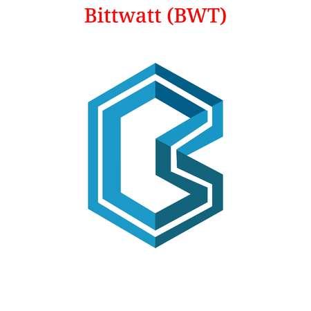 Bittwatt (BWT) cryptocurrency logo Stock Illustratie