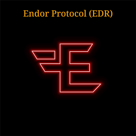 Endor Protocol (EDR) cryptocurrency symbol. Vector illustration eps10 isolated on black background