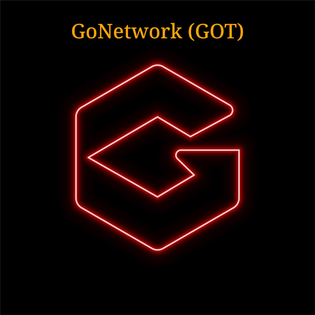 GoNetwork (GOT) cryptocurrency symbol. Vector illustration isolated on black background Vectores